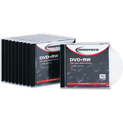 Innovera DVD+RW Discs, 4.7GB, 4x, w/Jewel Cases, Silver, 10/Pack