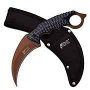 MTech USA Xtreme MX-8140BT Fixed Blade Knife, Brown Hook Blade, Black Handle, 9.25-Inch Overall