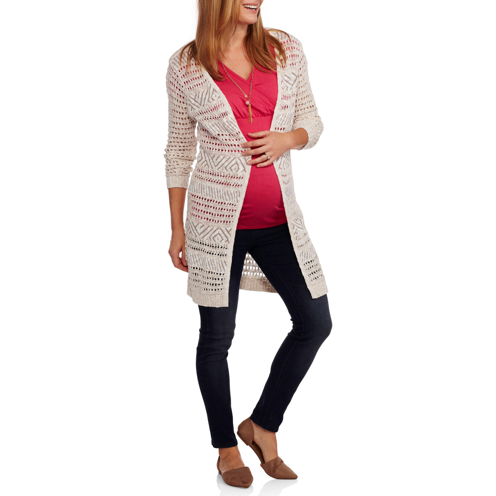 Faded Glory Maternity Pointelle Cardigan