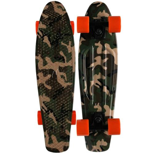 PARADISE Plastic Skateboard Old School Retro Cruiser WOODLAND CAMO GRAPHIC