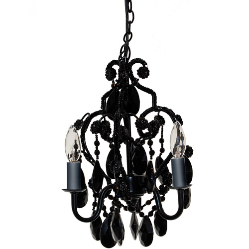 Seed Sprout 3-Bulb Chandelier, Black