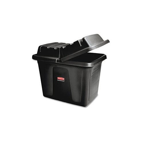 Rubbermaid Metal Frame Cube Truck, 12 cu ft, Polyethylene, 400lb Capacity, Black
