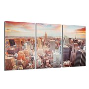 New York City Skyline Canvas Print Wall Home Art Prints Colorful Picture Modern City Sky Painting Picture Abstract Print Canvas Wall Home Decor (No Frame)