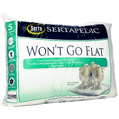 Serta Won't Go Flat Pillow, White