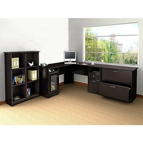 Bush Cabot L-Shaped Desk with Optional Hutch and Accessories