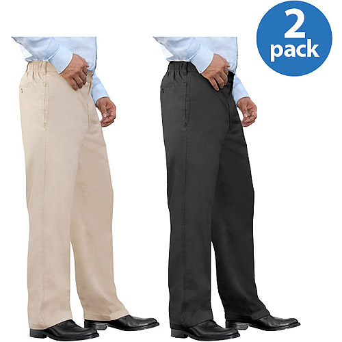 George Men's Half Elastic Twill Pants, 2 Pack