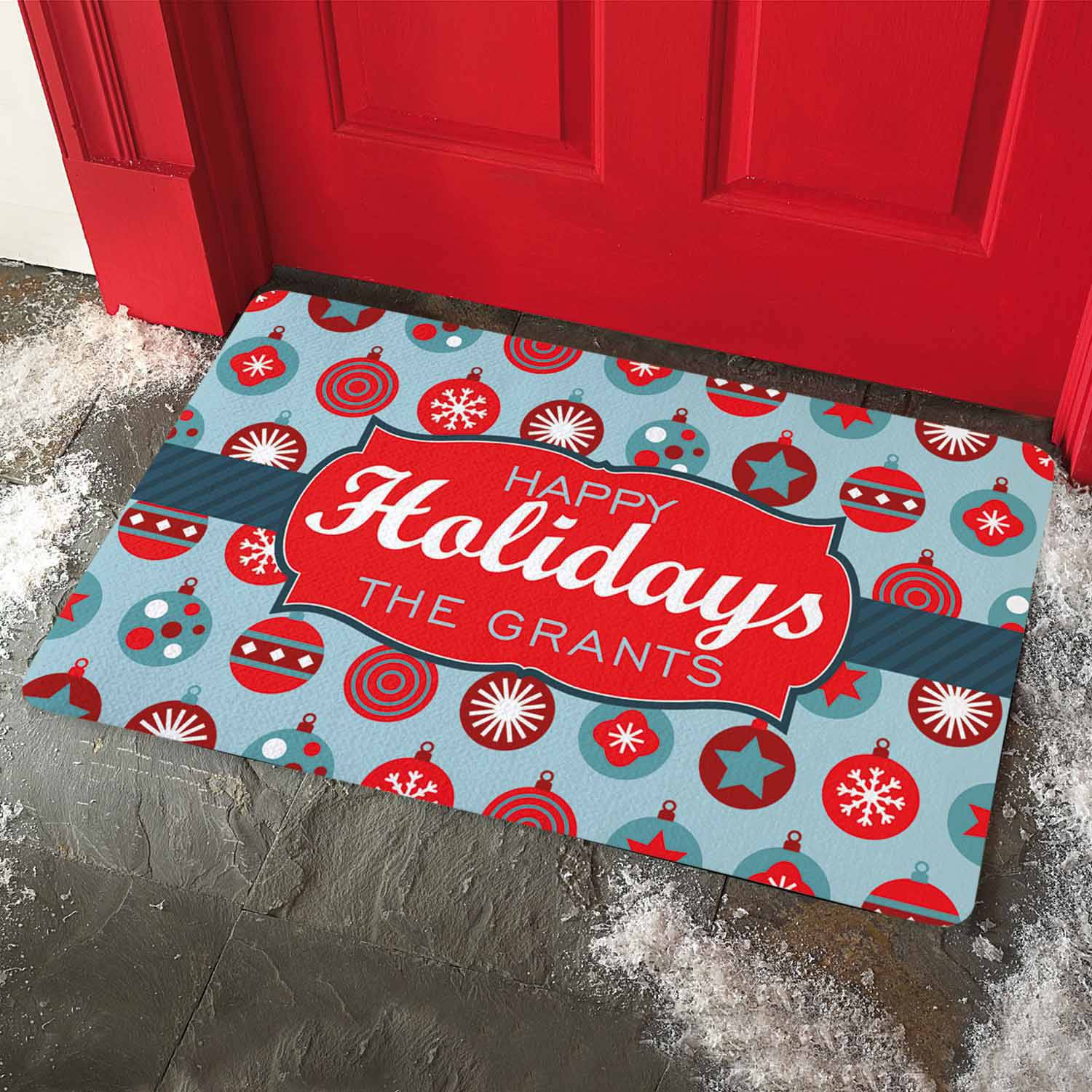 Personalized Holiday Ornament Doormat