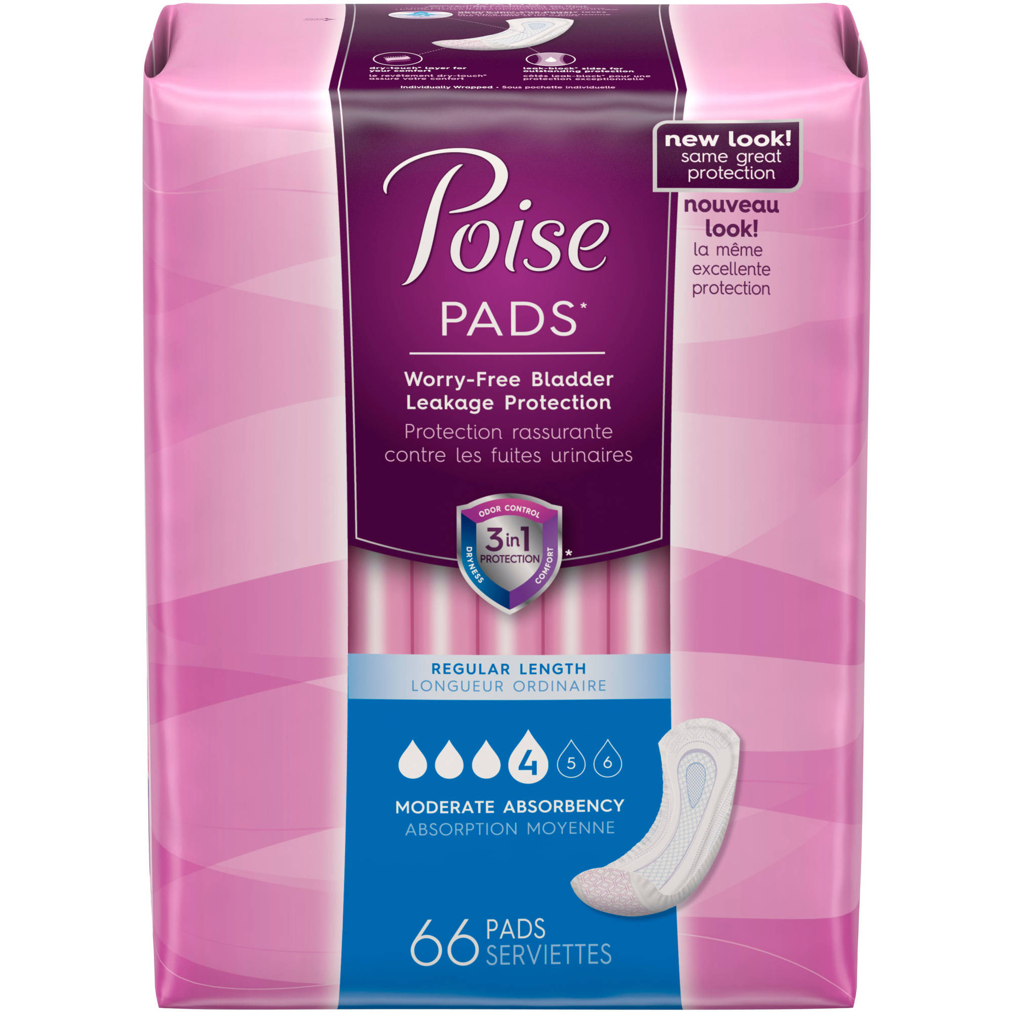 Poise Incontinence Pads, 66 count