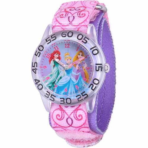 Disney Princess Girls' Plastic Watch, Pink Strap