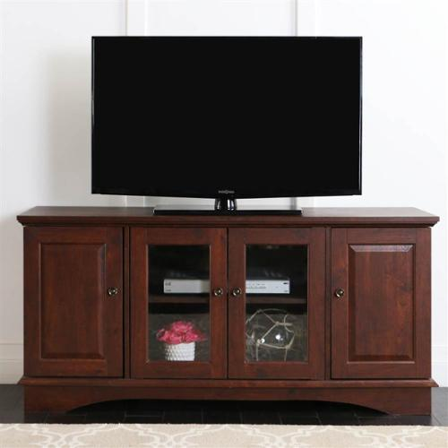 52 in. W Media Storage Wood TV Console in Traditional Brown