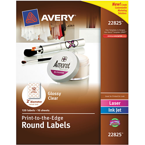 "Avery Round Easy Peel Labels, 2"" Diameter, Clear, 120-Pack"