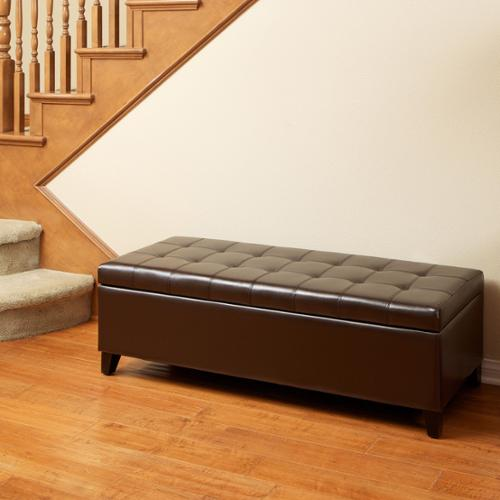 Jean Brown Tufted Bonded Leather Ottoman Storage Bench