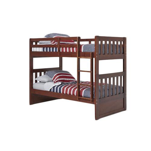 Woodcrest Pine Ridge Twin Mission Bunk Bed chocolate