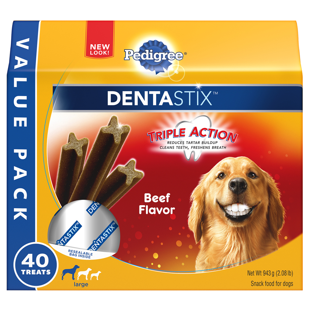 PEDIGREE DENTASTIX Beef Flavor Large Treats for Dogs - Value Pack 2.08 Pounds 40 Treats