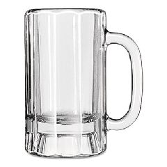 Glass Mugs & Tankards, 14 oz, Clear, Paneled Beer Mug