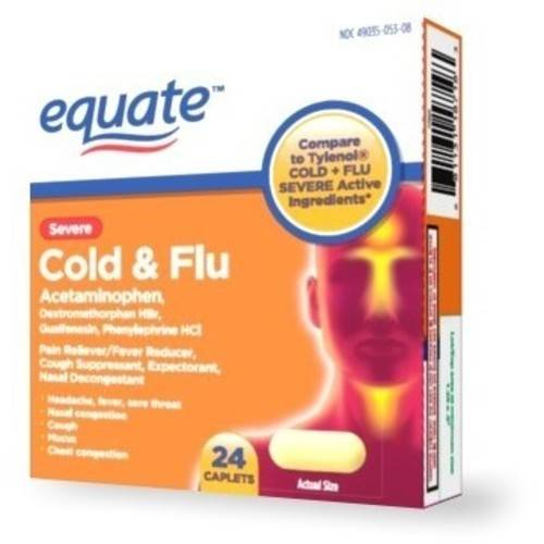 Equate: Cold Head Congestion Severe Caplets Pain Reliever, 24 ct