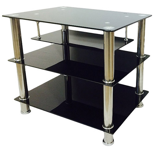 Hodedah Black 4-Shelf Glass TV Stand for TVs up to 32
