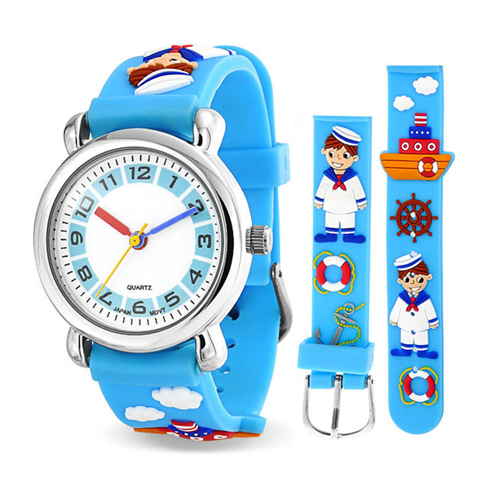 Bling Jewelry Blue Sailor Tugboat Nautical Ship Kids Watch Stainless Steel Back