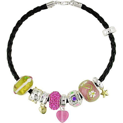 Venetian Charm Sterling Silver Bracelet on Black Cord, 8""