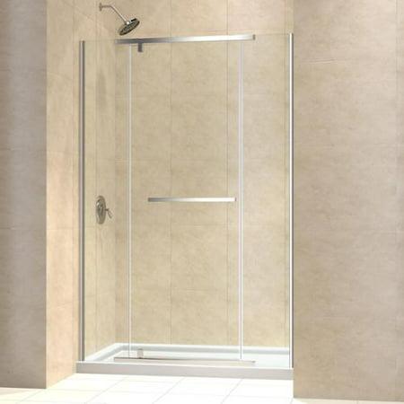 DreamLine Vitreo-X Pivot Shower Door and 34x60-inch Shower Base Brushed Nickel Hardware; Left Hand Drain Base