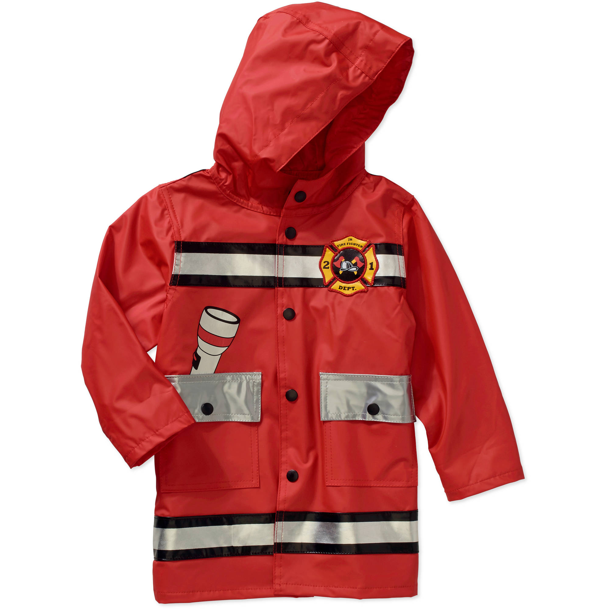 Raindrops Toddler Boy Fireman Rain Jacket