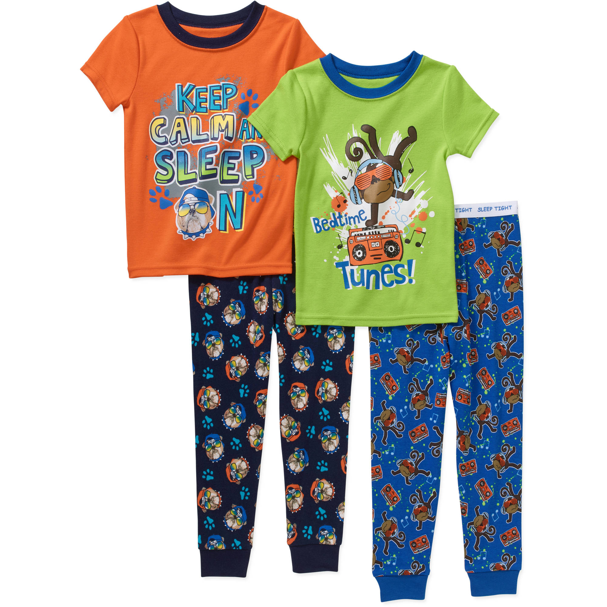 Garanimals Toddler Boy Tight-Fit Cotton Pajamas, 4-Piece Set