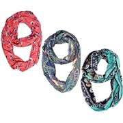 Peach Couture Womens Fashion Bohemian Infinity Scarves Bird and Paisley Print