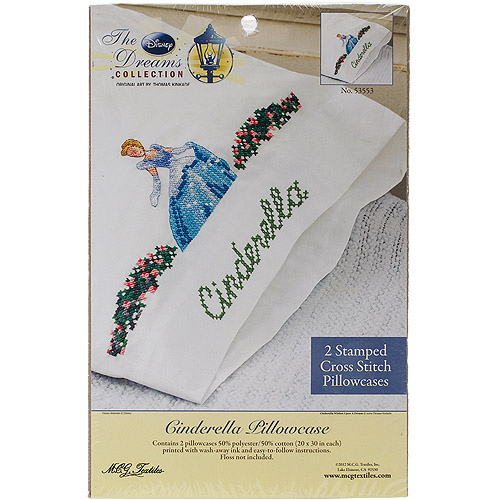"Disney Dreams 20"" x 30"" Stamped Pillowcases, Cinderella Wishes Upon A Dream"
