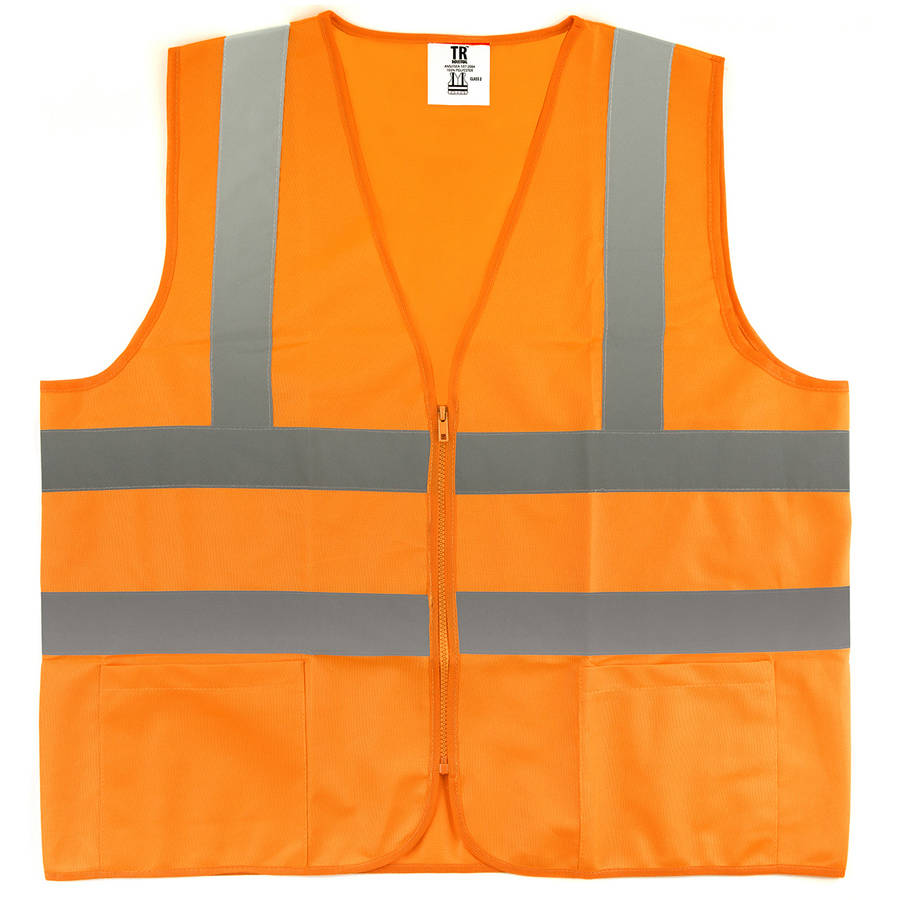 TR Industrial Orange High Visibility Reflective Class 2 Safety Vest, Size Medium