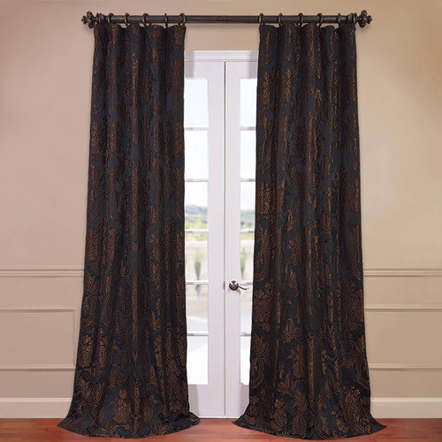 Half Price Drapes Magdelena Faux Silk Jacquard Single Curtain Panel