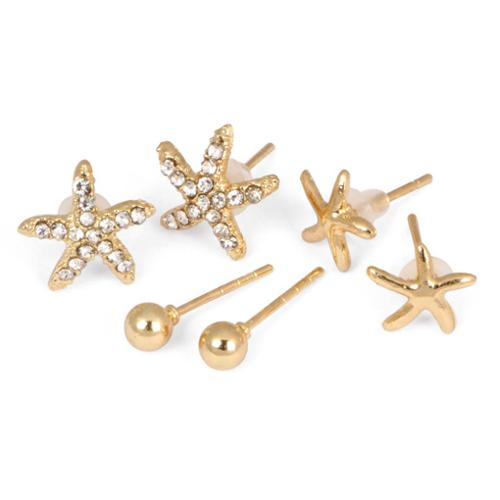 BMC Womens 6pc Yellow Gold Colored Round Stud 2 Starfish Design Fashion Earrings