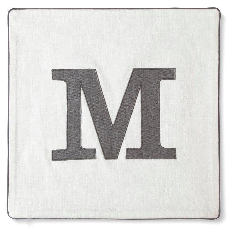"Threshold Square Pillow GRAY Monogrammed Pillow Cover ""M"""