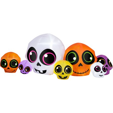 Gemmy Blowups Inflatable 3' X 9' Fun Face Skulls Halloween Decoration