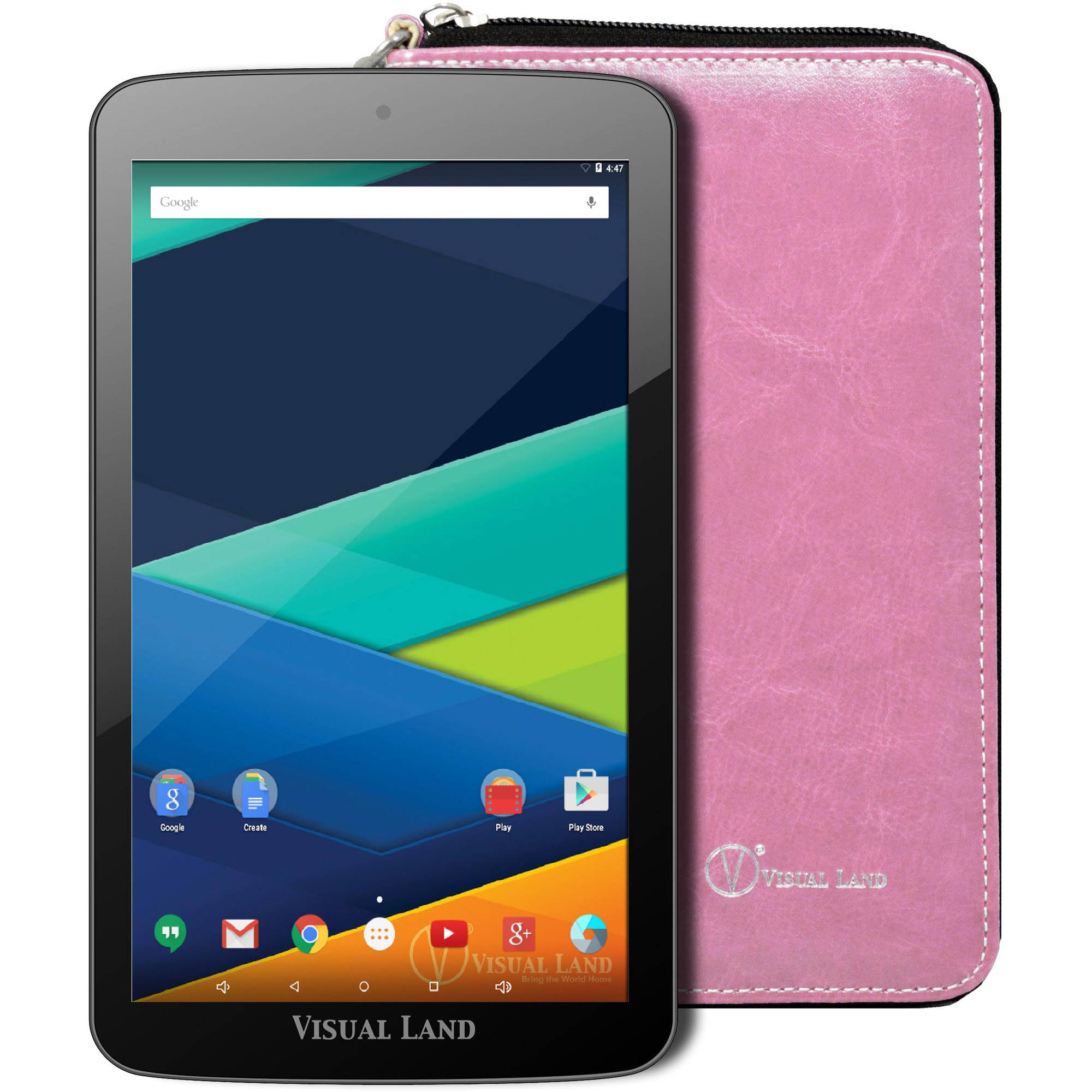 "Visual Land Prestige Elite 7"" Tablet 16GB Quad Core Lollipop with Wallet Case"
