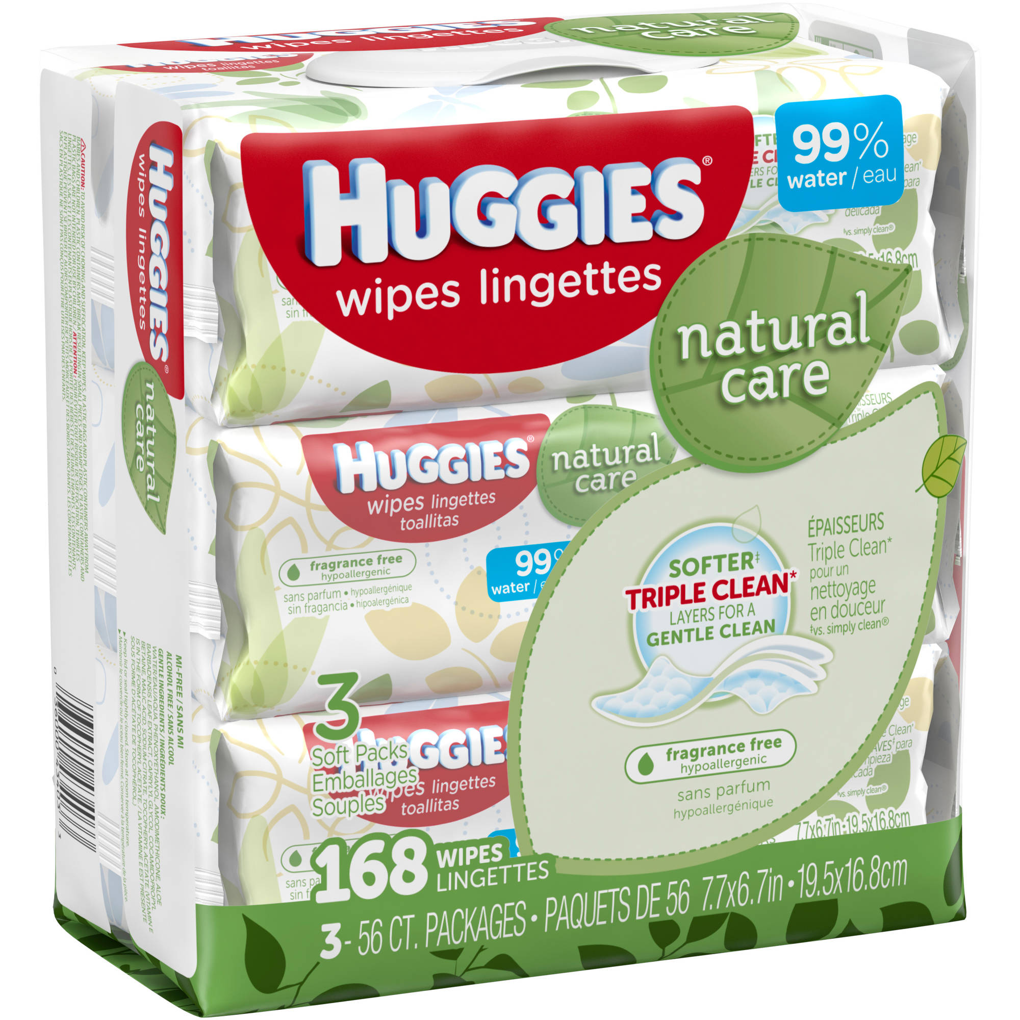 HUGGIES Natural Care Baby Wipes, 56 sheets, (Pack of 3)