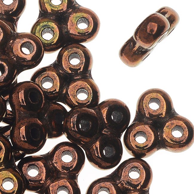 Czech Glass, 3-Hole Trinity Beads, 8x8mm, 8 Gram Tube, Jet Bronze