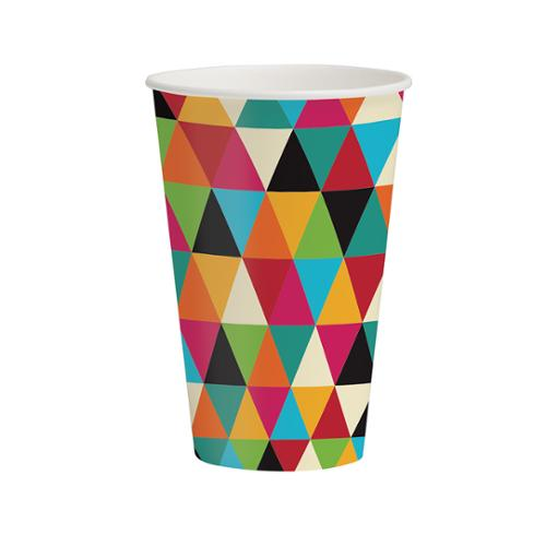 Club Pack of 96 Kraft Triangle Patterns Disposable Paper Hot and Cold Drinking Party Cups 9 oz.