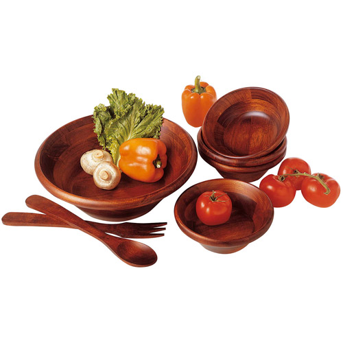 Lipper 7-Piece Fluted Salad Bowl Set, Cherry Finish