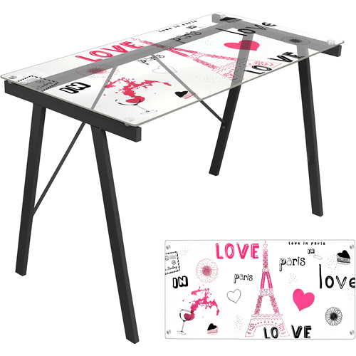 LumiSource Love in Paris Exponent Desk, Black