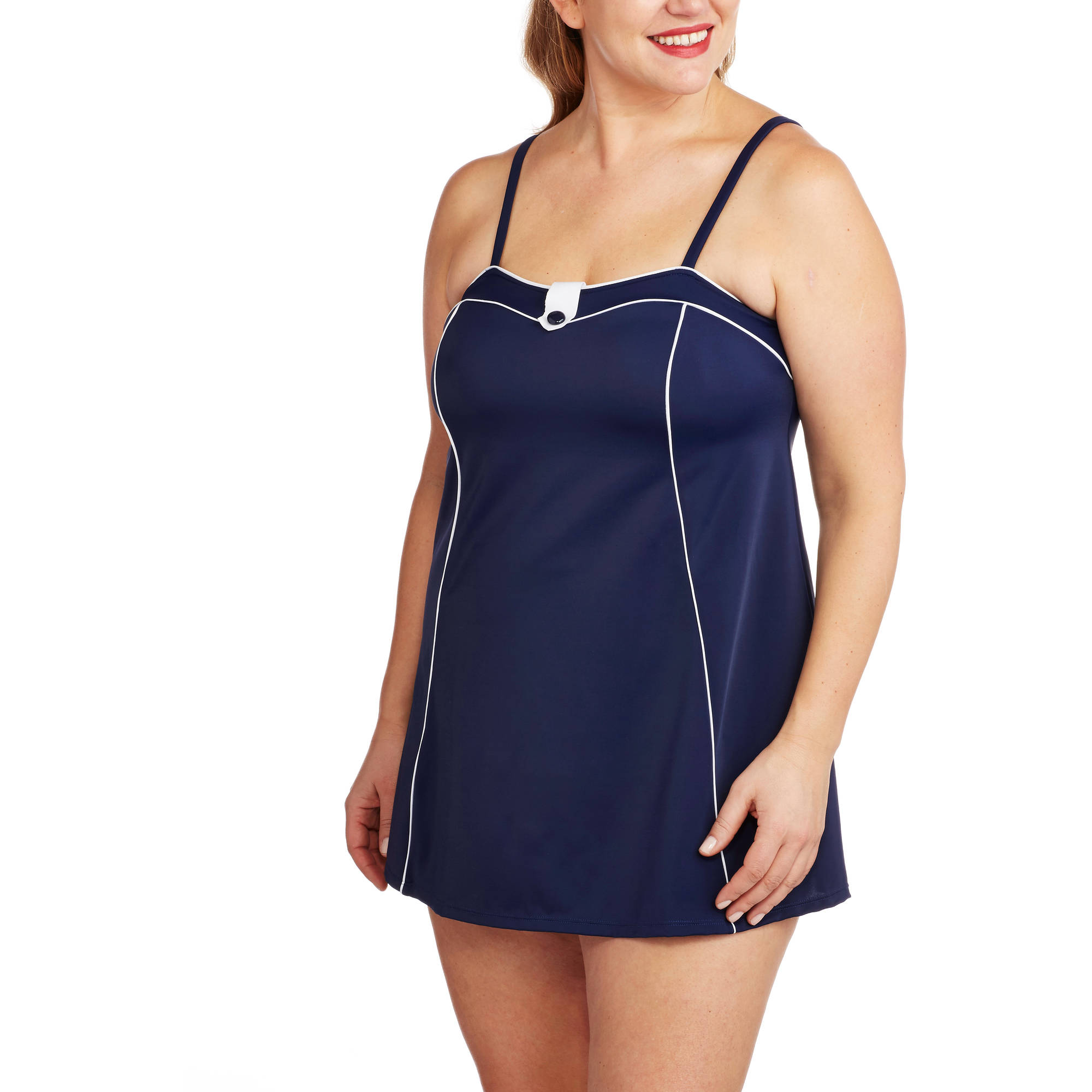 Suddenly Slim By Catalina Women's Plus-Size Retro Slimming Sailor Swimdress
