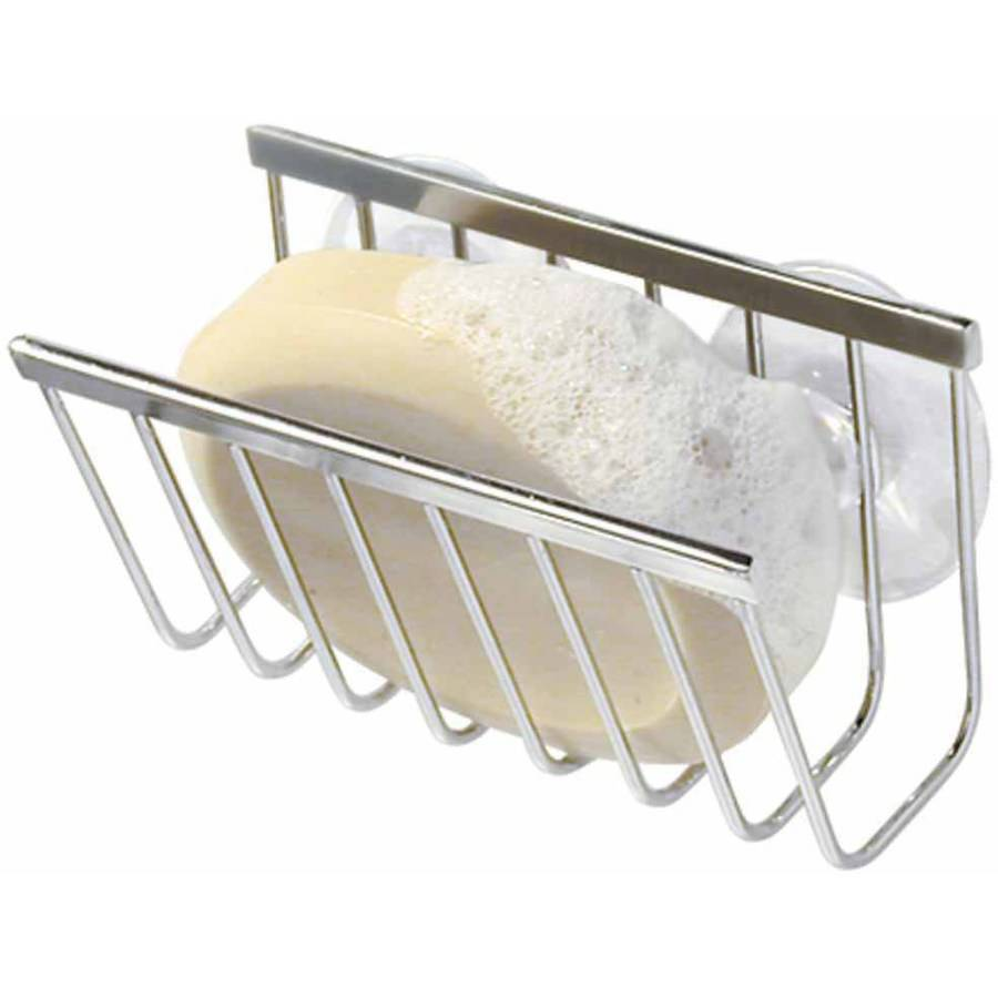 InterDesign Gia Kitchen Sink Suction Holder for Sponges, Scrubbers, Soap, Polished Stainless Steel