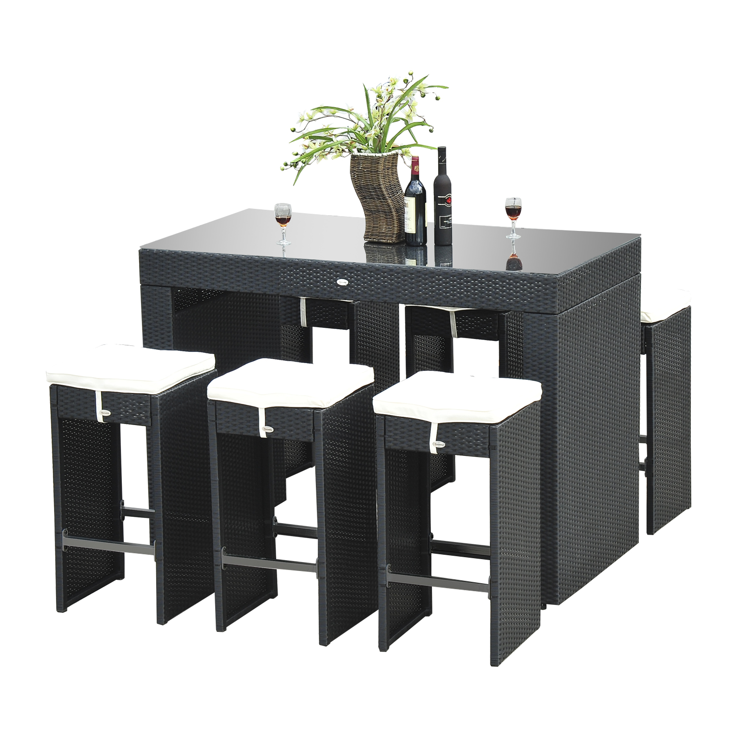 Outsunny 7pc Rattan Wicker Bar Stool Dining Table Set - Black