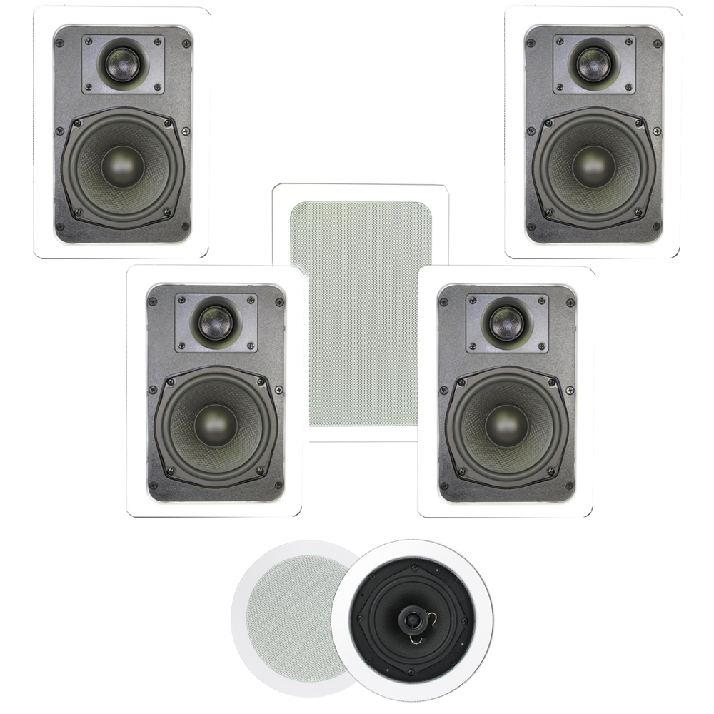 Theater Solutions TS-57 1400 Watt 7CH In-Wall/Ceiling Home Theater Speaker System