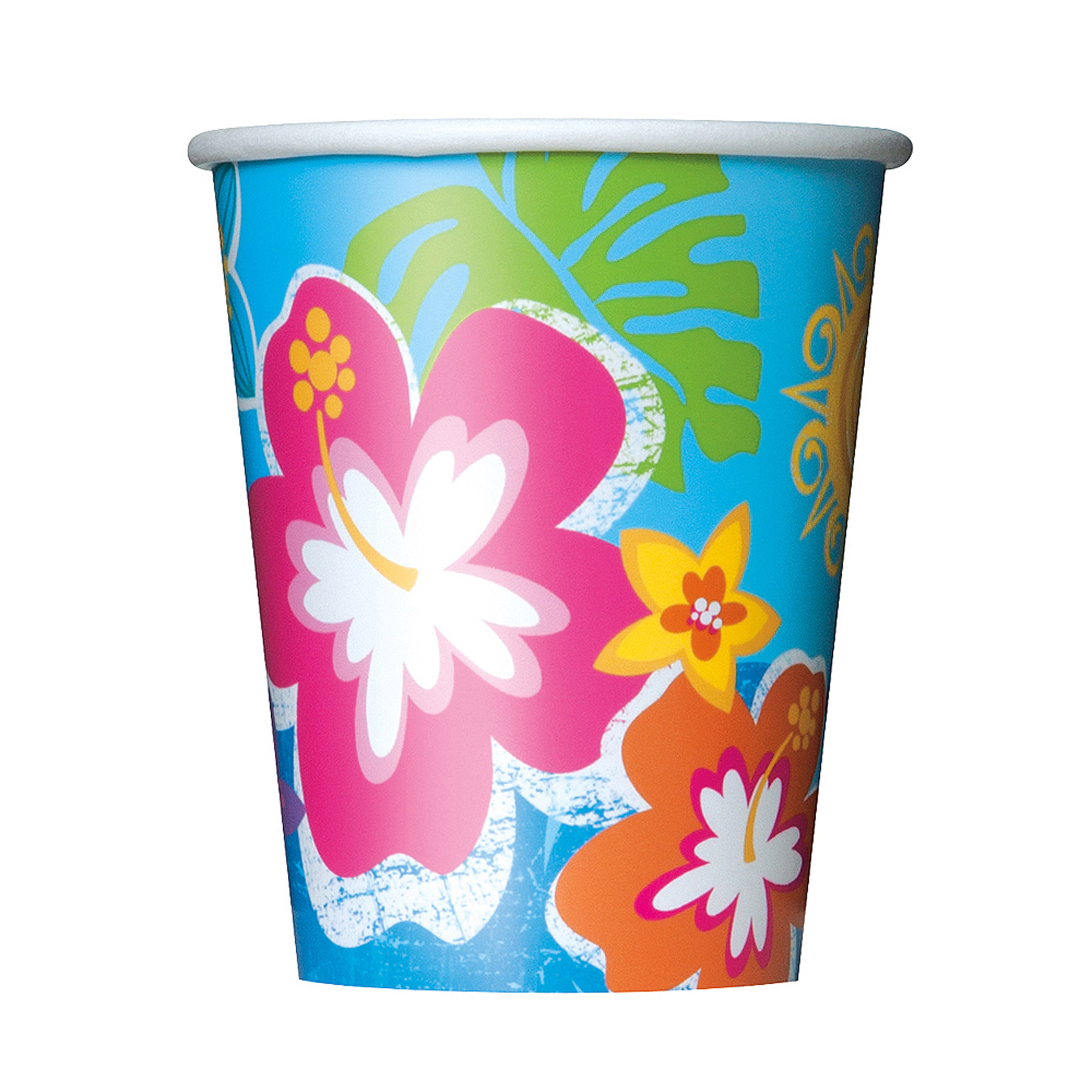 9-Ounce Hula Girl Luau Party Paper Cups, 8-Count