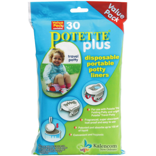 Kalencom Potette Plus 2-in-1 Portable Potty & Training Seat Disposable Liners, 30-Pack