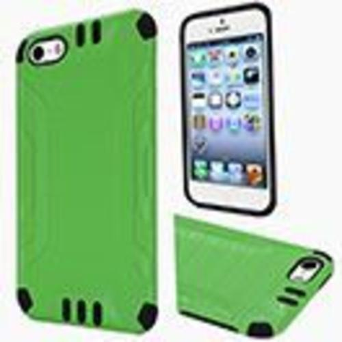 Insten Hard Hybrid Rubber Silicone Case For Apple iPhone 5/5S/SE - Green/Black