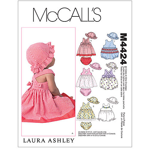 McCall's Pattern Infants' Dresses, Rompers, Panties and Hat, All Sizes in 1 Envelope