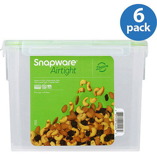 Snapware Airtight Plastic 11-Cup Rectangle Food Storage Container, 6-Pack