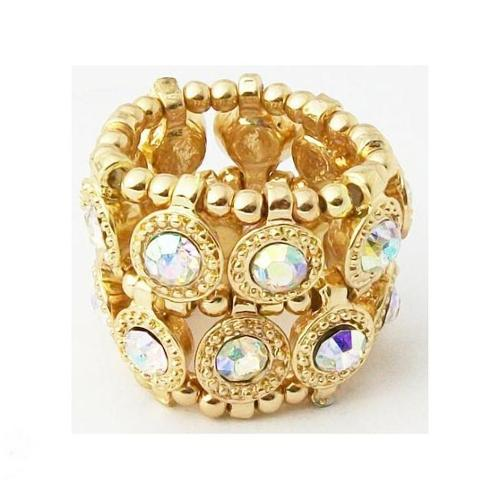 Zirconmania 610R-7624-GAB Goldtone Auroroa Borealis Crystal 2-row Disc Stretch Fashion Ring