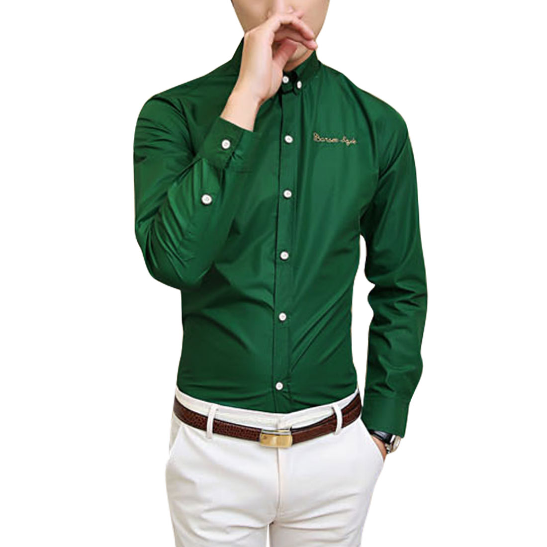 Azzuro Men's Button Cuffs Embroidery Letters Detail Casual Shirt Green (Size M / 40��